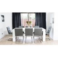 White Gloss 8 Seater Dining Table E1 Board European Classic Design Manufactures