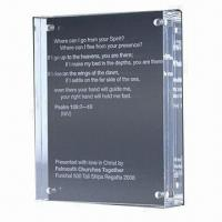 Acrylic Frame Block, Comes in 10mm Clear Acrylic, Customized Designs are Accepted Manufactures