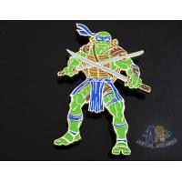Custom Logo Ninja Turtle Zinc Alloy Metal Lapel Pin Bages, Cut Out Stye Shiny Gold Plating With Rupper