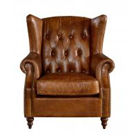 Durable High Back Leather Armchair Vintage Top Grain Brown Living Room Furniture For Sale Of