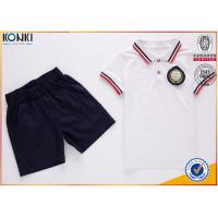 Custom school uniform polo t shirts with stripe collar and cuff  for boys and girls Manufactures