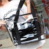 Women Tote Handbag Semi clear-PVC Beach Bag Shoulder Bag Stripe Fasion bag Design From China Factory Supplier,good price Manufactures