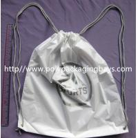 Personalized PP Promotion  Packaging / White Plastic Drawstring Backpack Manufactures
