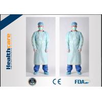 Smooth Disposable Isolation Gowns Blue 46G CPE Gown With Thumb Hooks For Hospital Manufactures