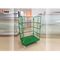 Warehouse Foldable Turnover Trolley Logistics Cage Green Powder Coated Manufactures