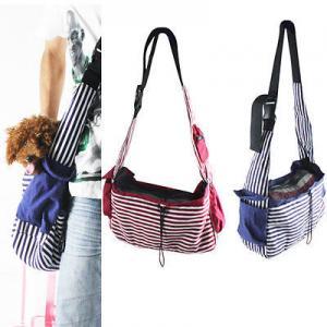 Striped Canvas Sling Bag Pet Carrier For Dog/Cat Travel Bag Red,Blue Manufactures