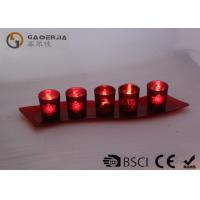 China Set Of 5 Red Glass Candle Holder With Glass Plate And LED Tealight for sale
