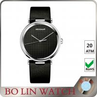 Diamond - Cut Hand Leather Automatic Watch , 100m All Black Mens Leather Belt Watches Manufactures