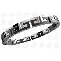 Black White Surgical Hinged Stainless Steel Bracelets For Men / Women Manufactures