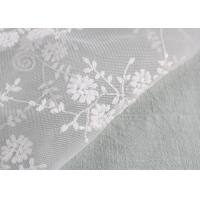 Quality Floral Embroidery Bridal Scalloped Edges Lace Fabric For Off White Wedding Gowns for sale