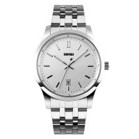 Silver Strap Analog Quartz Watches With Dual Time Zone Display Manufactures