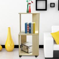 Movable Home Office Wooden Book Rack Maple With Two Layer Storage Space Manufactures