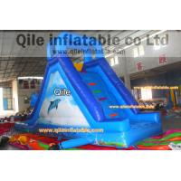Quality dolphins inflatable wet & dry slide with pool,pool can removed ,double wave for sale