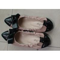 China Black Bow Cute Ladies Flat Soft Leather Shoes With Frill Design on sale