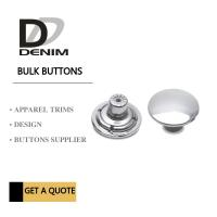 Customized Shiny Denim Shank Silver Metal Buttons Flat For Jeans Pants Manufactures
