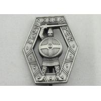 Zinc Alloy 3D Warrior Badge, Antique Silver Plating Souvenir Clip Metal Badges Manufactures