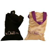 Closet Satin Bag, Fabric Carrier Bags Printed With Ribbon Handle 18 * 23 mm Manufactures