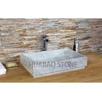 China Large Kitchen  Natural Bowl Stone Sink Basin Faucet Beautiful Table Top Installed on sale