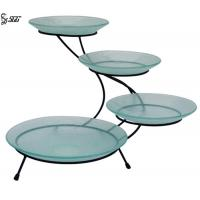 China Round Tiered Buffet Stand With Glass Stainless Steel Buffet Ladder Mirror Polished on sale