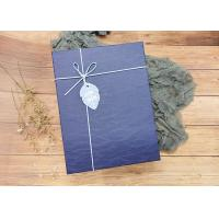 China Navy Textured Rectangle Sturdy Cardboard Boxes With Leather Rope For Packaging on sale