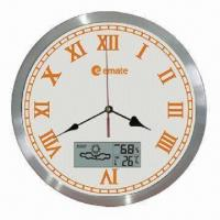 10-inch Quartz Analog Wall Clock with Aluminum Frame, LCD Display in Temp/Humidity/Weather Forecast Manufactures