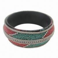 Wooden Bangle, Wrapped with Ball/Mesh Chain, Seed Bead, Available in Various Designs Manufactures