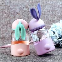 340ml Kids Rabbit Shaped Gift Unbreakable Glass Water Bottle With Silicone Sleeve Manufactures