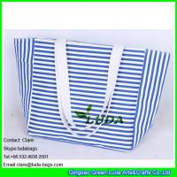 China LDFB-015 striped canvas totes white cotton braid handles beach canvas bag on sale