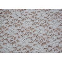 Fashion Brushed White Lace Fabric Flower Shape , Stretchable 135cm Width CY-LQ0042 Manufactures