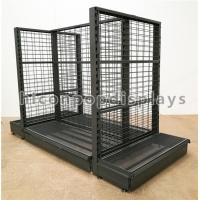 Supermarket / Retail Gondola Shelving Black Heavy Duty Double Sided Display Stand Manufactures