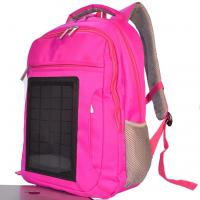 Pink Womens Hiking Solar Charging Backpack With Charger Built In Manufactures