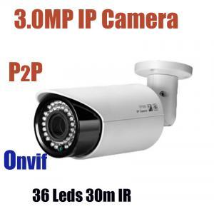 3.0MP Megapixels IP Bullet CCTV Camera Day Night Vision Plug and Play Onvif IP Camera Manufactures