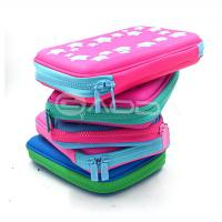 High Quality PU Leather Hard Pencil Case With Zipper / Custom Pen Bags with Embossed Logo Manufactures