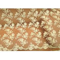 Gold Retro Scalloped Corded Lace Fabric , Polyester Embroidered Floral Tulle Fabric Manufactures