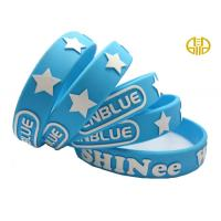 Anti Corrosion blue Advertising Silicone Wristbands / Bracelets Eco - friendly Manufactures