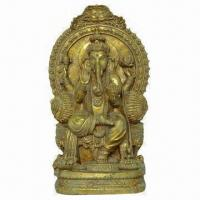 China Polyresin Sitting Ganesh Statue, Gold Color, with AnFique finish on sale