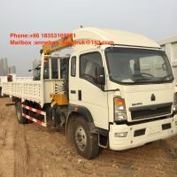 5T Truck Mount Crane Of Sinotruk Howo With Xcmg Crane 4x2 6 Wheels With 10T Cargo Box Manufactures