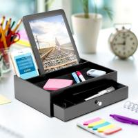 Wooden Ipad / Iphone Charging Station And Valet With 5 Compartments Manufactures