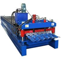Prepainted Steel Roofing Glazed Tile Roll Forming Machine With Hydraulic Cutting Manufactures