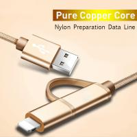 China Type-c Android USB dual-use flat two-in-one metal woven nylon mobile phone data charging cable on sale