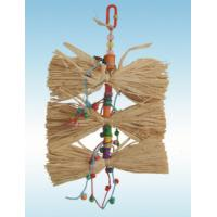 natural wooden bird toys 9 inches preening raffia grass with beads for cockatiel Manufactures