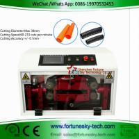 China Max Diameter 38mm English HWN-86A FEP Corrugated Black PE Flexible Split Tubing Cutting Machine Cut to Length Peak Cut on sale
