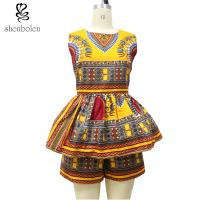 Sleeveless Top Two Pieces Short African Print Pants Suit , Latest Fashion African Wear Designs Manufactures