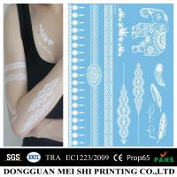Sexy Womens White Ink Henna Temporary Tattoo Stickers Removable Eco Friendly Manufactures