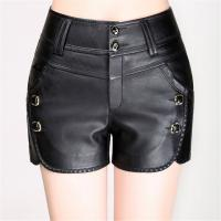 Faux Leather PU Slim Fit  Black Womens Casual Shorts For Spring / Autumn / Winter Manufactures
