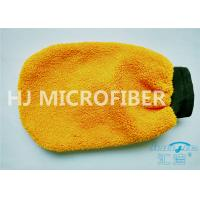 China Orange Coral Fleece Microfiber Car Wash Mitt 80% Polyester 4.4 x 8.8 on sale