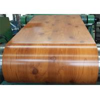 PVC Laminated Metal Sheet Wood Grain VCM Color Coated Steel Coil Strong Toughness Manufactures