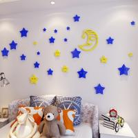 Acrylic  Waterproof 3D Wall Stickers with stars and moon, kids room wall decals Manufactures