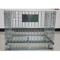Large Folding Wire Container , Stackable Galvanized Wire Cage For Warehouse