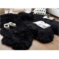Quality Australian Sheepskin Rug Sheepskin Collection Genuine Sheepskin Pelt Black Premium Shag Runner (4' x 6') for sale